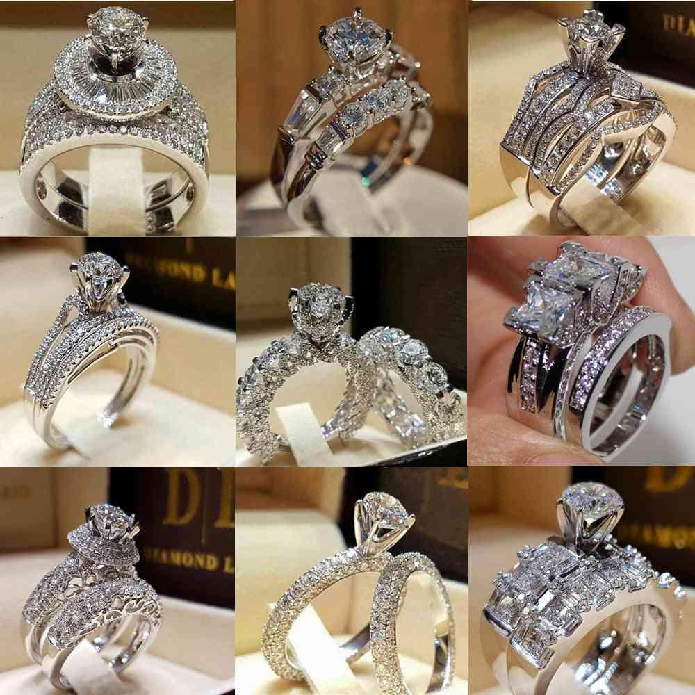 Zirconia Wedding/engagement Ring Set For Woman-size 9