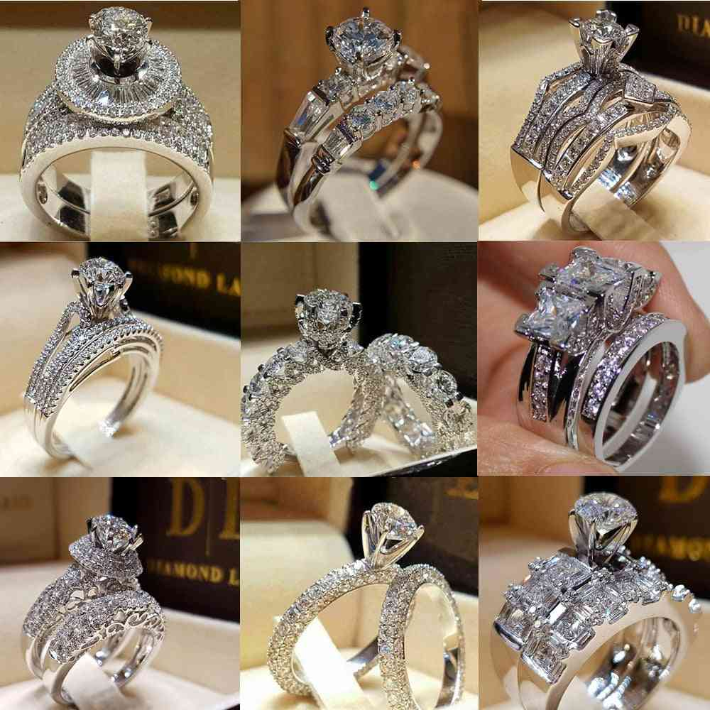 Zirconia Wedding/engagement Ring Set For Woman-size 12