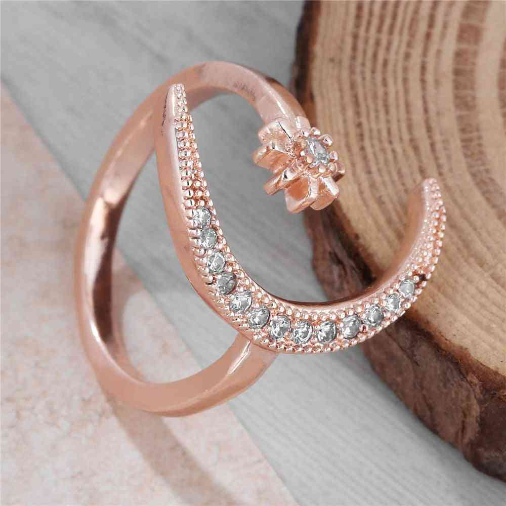 Fashion Ring Moon Star Open Finger Adjustable  Women Jewelry Ring