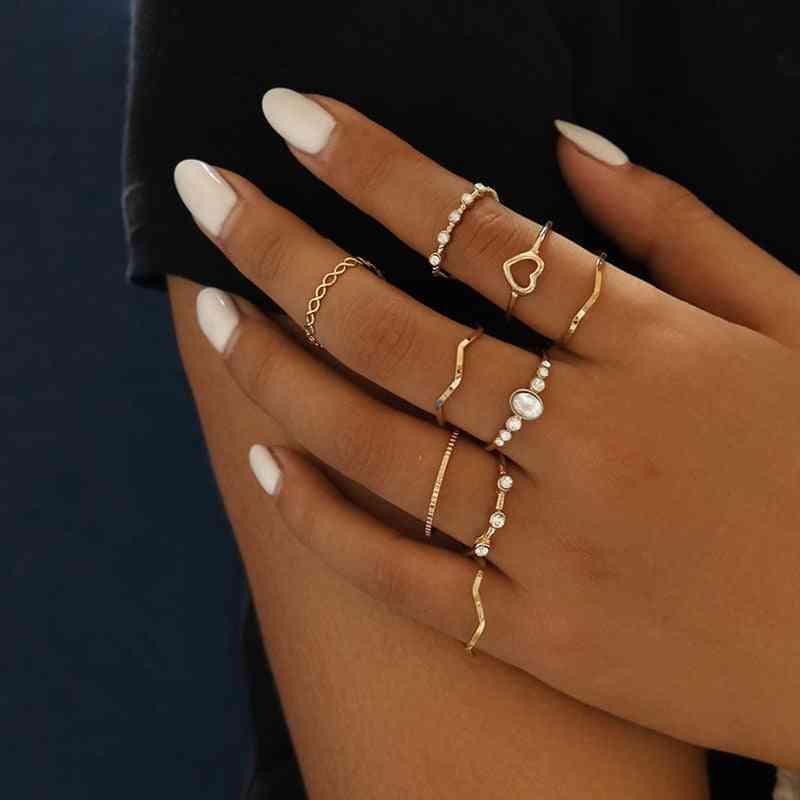 Midi Round Twist Weave Ring Set, Fashion Jewelry