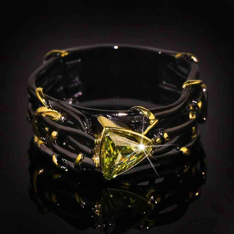 Vintage Gothic Black Tree Branch Ring With Bling Zircon Stone For Women