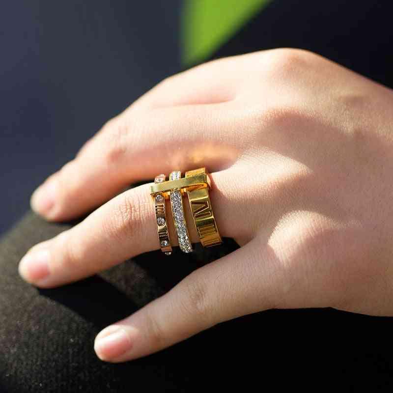 Women's Roman Numerals Finger Rings For Wedding/engagement
