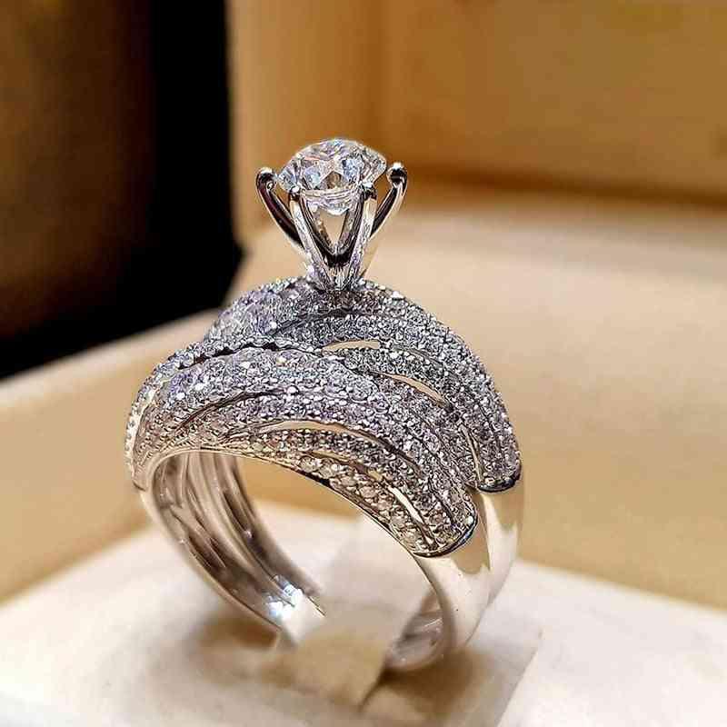 Trendy Crystal Ring Set, Women Geometric Luxury Rings