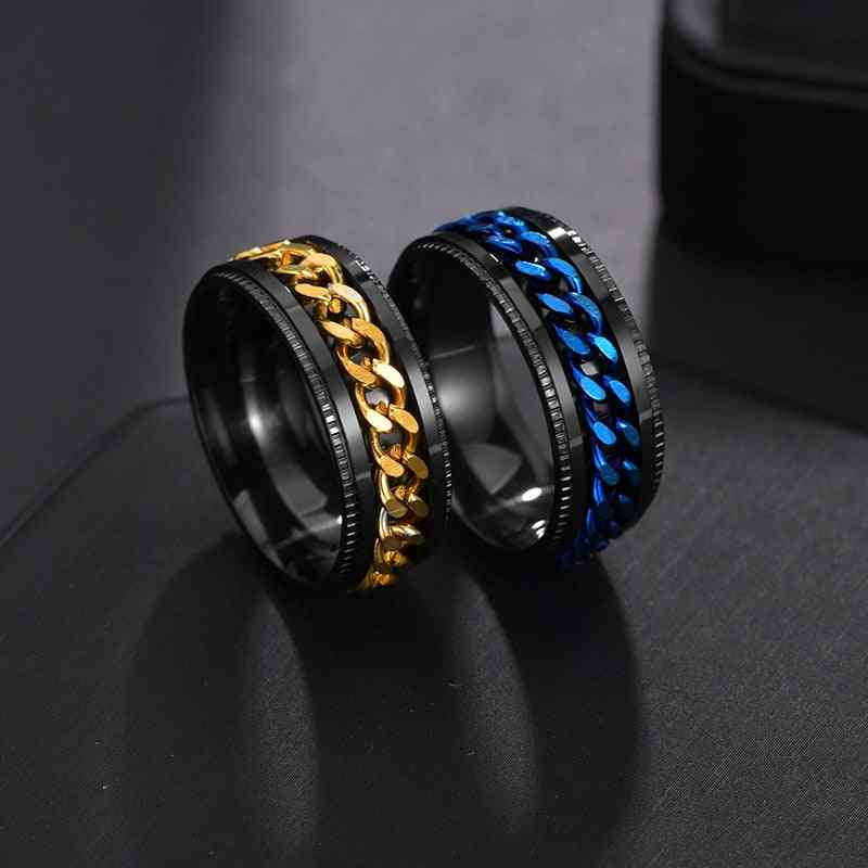 Letdiffery Punk Spinner Chain Men Rotatable Ring