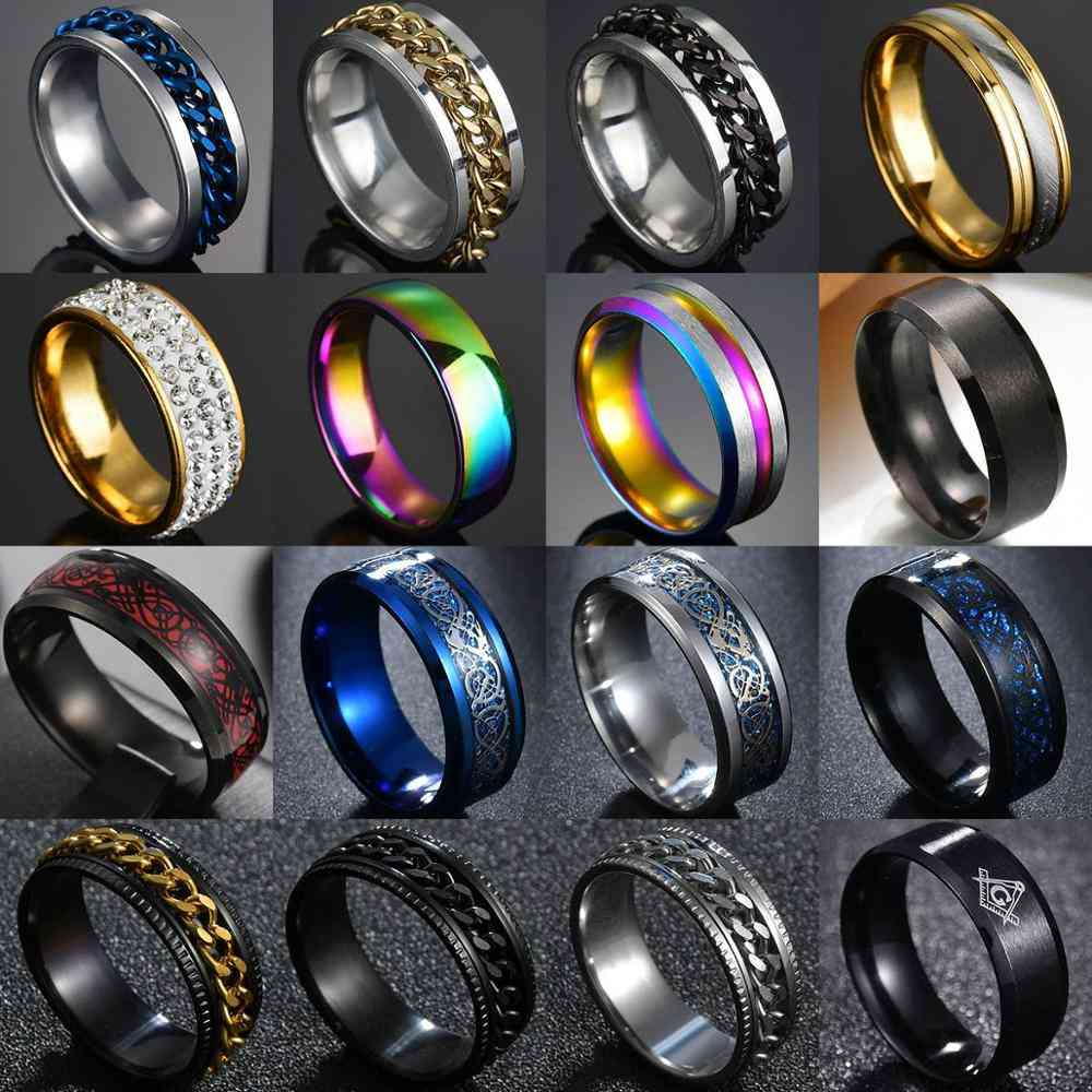 Punk Titanium Steel Roman Numeral Twist Chain Rings