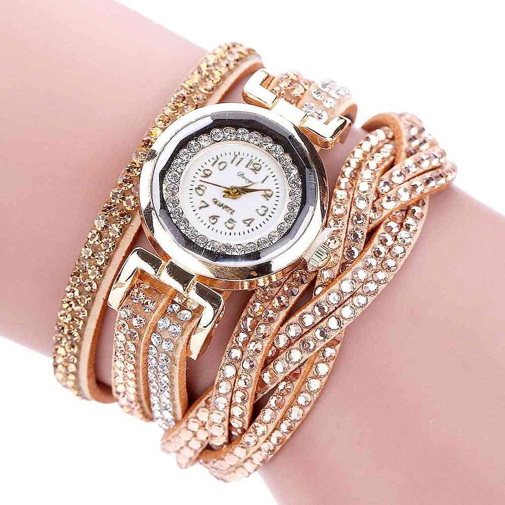 Fashion Quartz Rhinestone Leather Bracelet Watch
