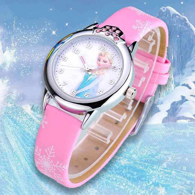 Princess Pattern Watch, Cartoon Leather Quartz Wristwatch For