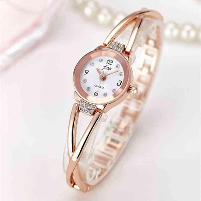 Luxury Rhinestone Watches, Women Stainless Steel Quartz Bracelet Watch