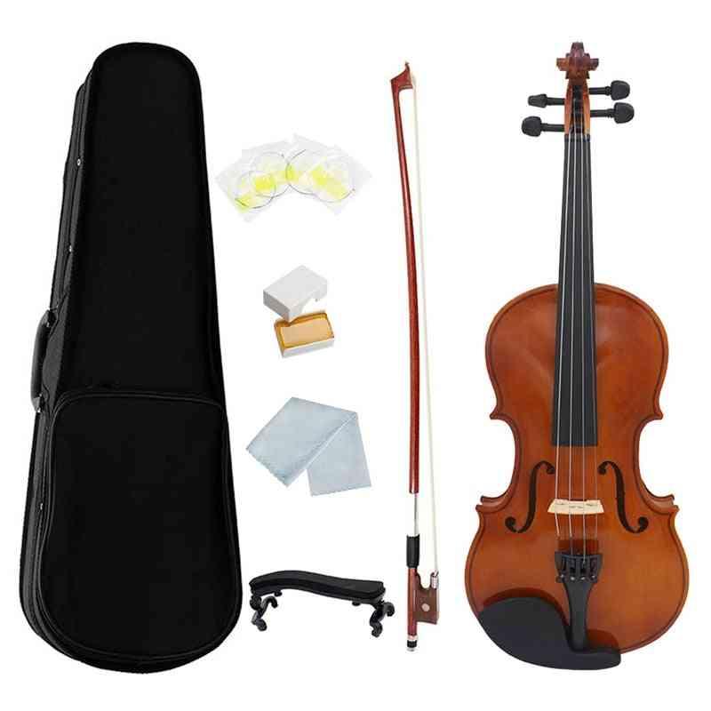 1/4 Violin Natural Acoustic Wood Spruce Flame Maple Veneer Violins Fiddle With Case