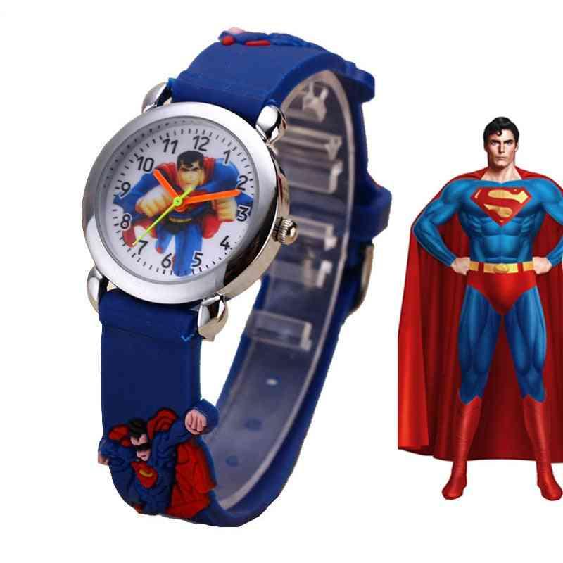 Boy & Cute Cartoon Watch, Soft Silicone Quartz Wristwatch