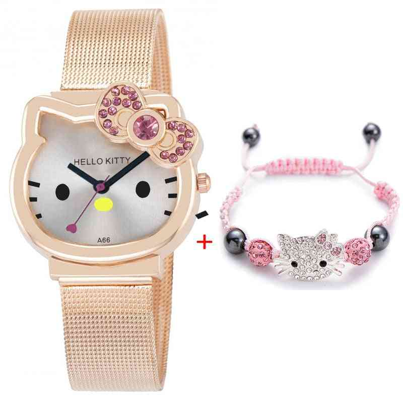 Cartoon Cute Mesh Stainless Steel Quartz Watch, Bracelet