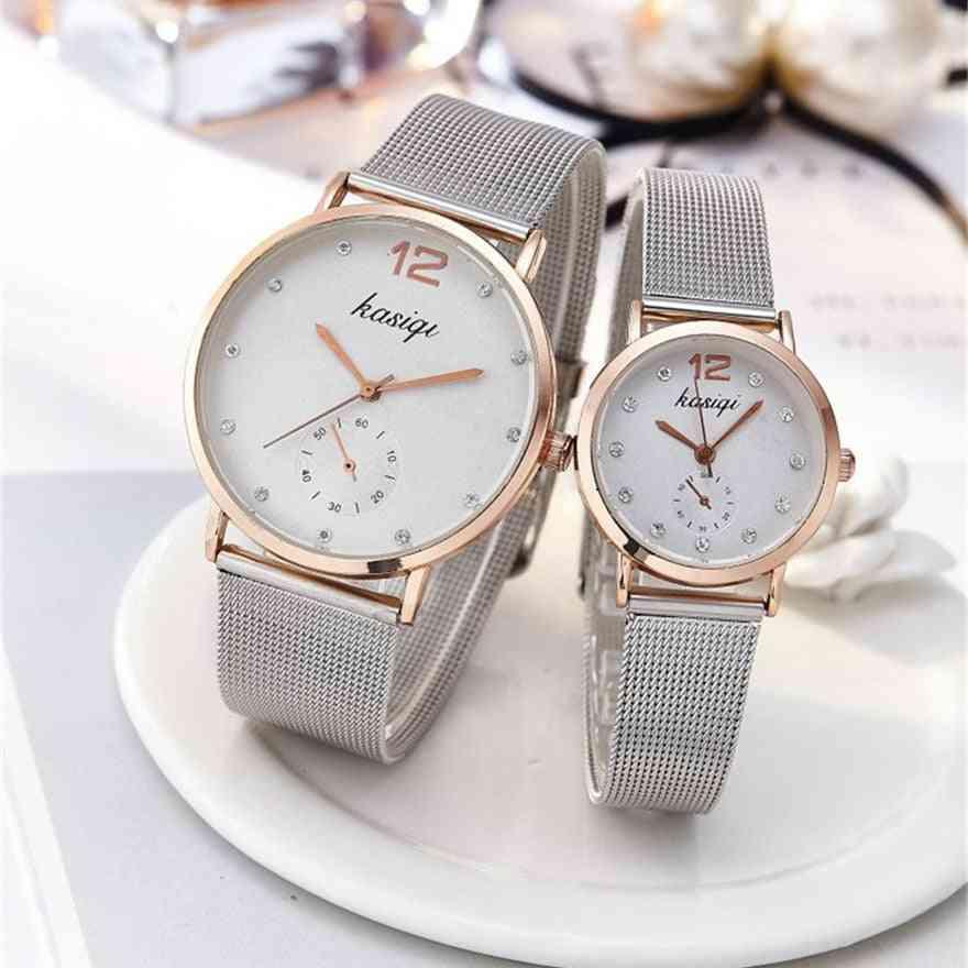 Stainless Steel Rhinestone Couple Luxury Quartz Wristwatch