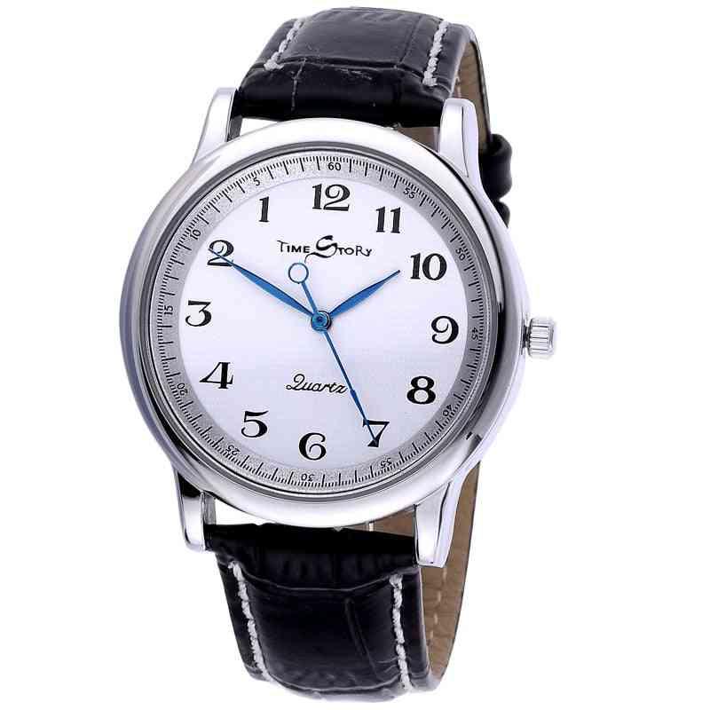 Men Quartz Watch, Waterproof Leather Watches