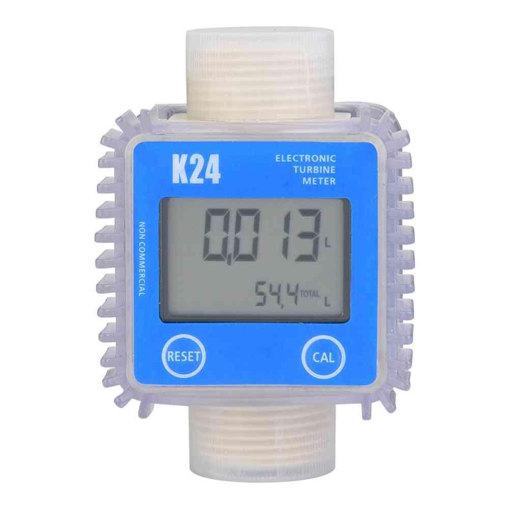 1pc K24 Turbine Digital Diesel Oil Fuel Flow Meter Gauge For Chemicals, Liquid, Water Hot