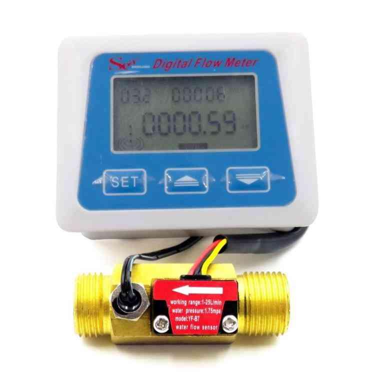 Digital Lcd Display, Water Flow Sensor Meter, Flowmeter Totameter Temperature Time Record