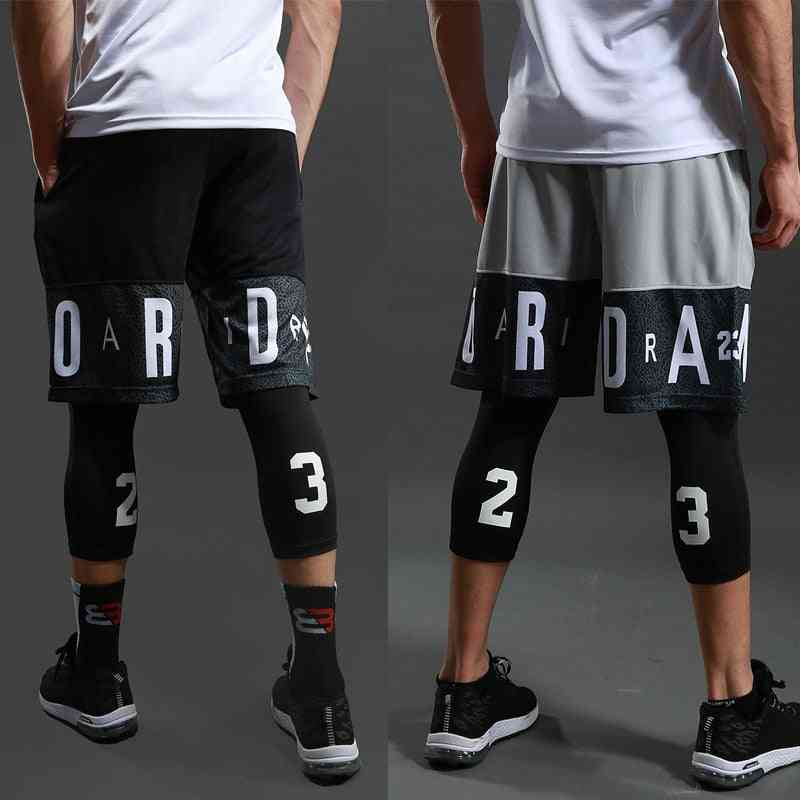 Men Basketball Sports Gym Quick-dry Workout Shorts, Exercise Running Fitness Tights