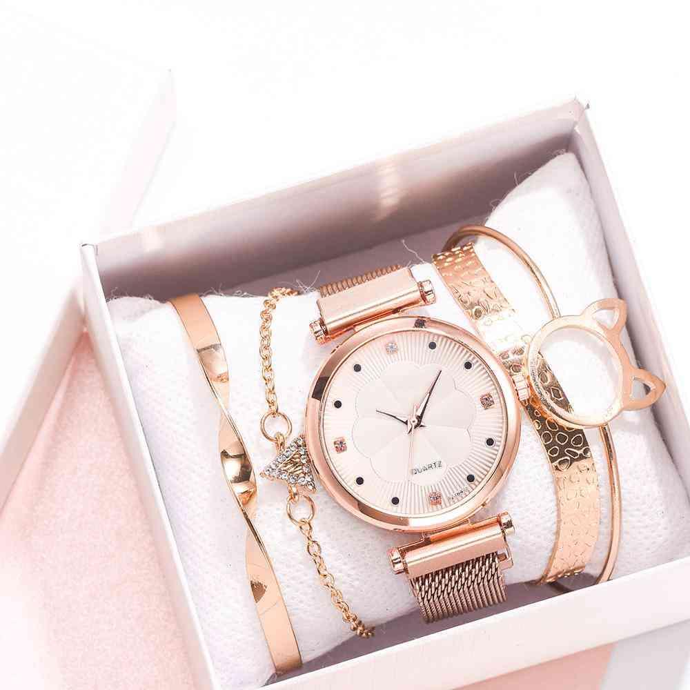 Luxury Watch Women Fashion Embossed Flowers Small Fresh Steel Belt Dial Bracelet Student Quartz