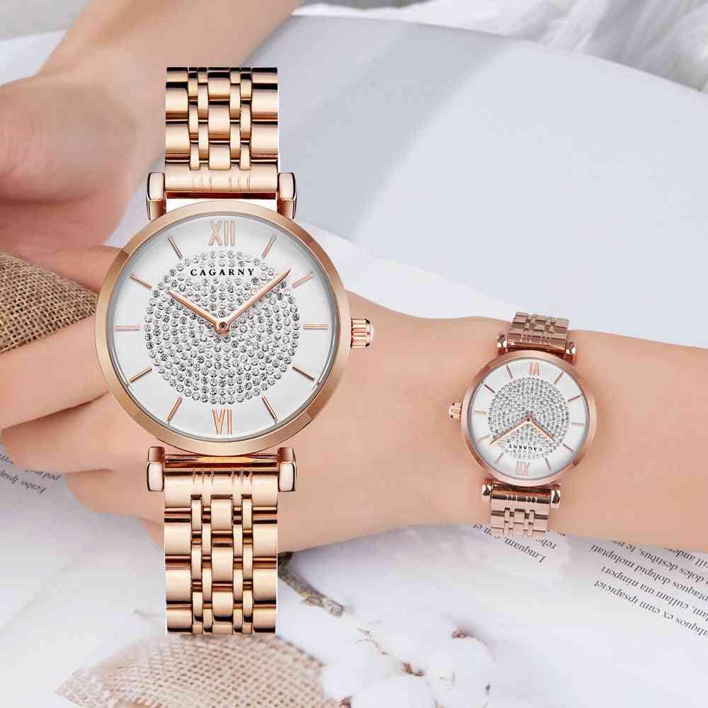 Stainless Steel Bracelet Watch, Women Fashion Quartz Hip Hop Diamonds Clock