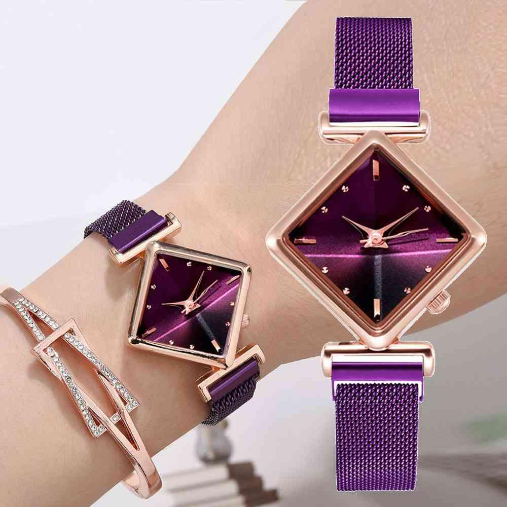 Luxury Creative Simple Quartz Watch Women's Dress Steel Mesh New Clock Bracelet