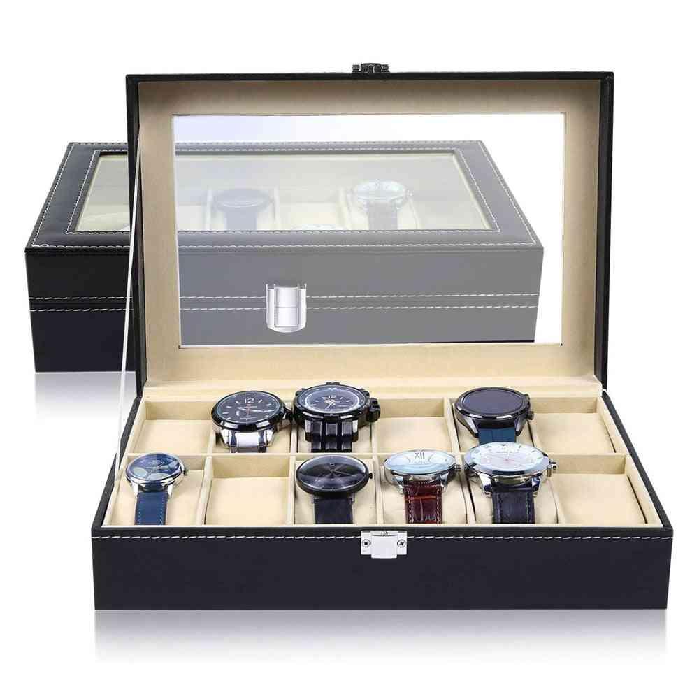 Window Black Leather Watch Box, Case, Professional Holder Organizer