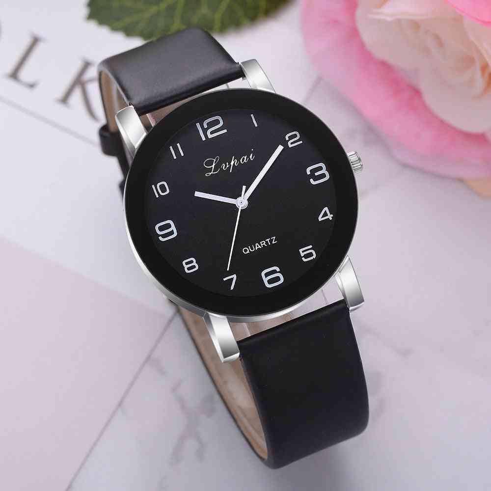 Women Quartz Watch, Leather Band Women Bracelet Watches Crystal Clock
