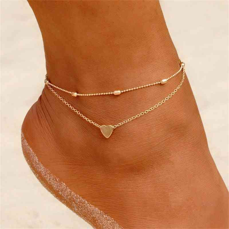Two Layers Chain-heart Style, Anklets, Bracelets, Summer Barefoot Sandals Jewelry