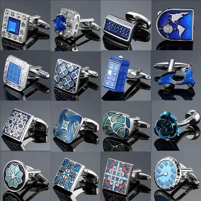 Men's French Shirts Cufflinks, Environmental Protection, Enamel Baking Polishing, Blue Crystal Pattern