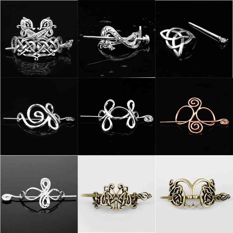 Viking Hair Jewelry Celtics Knots Crown, Hairpins Vintage Style Bronze