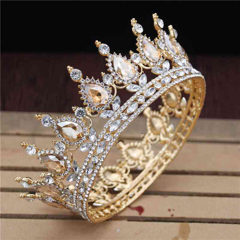 Crystal Vintage Royal Queen King Tiaras And Crowns