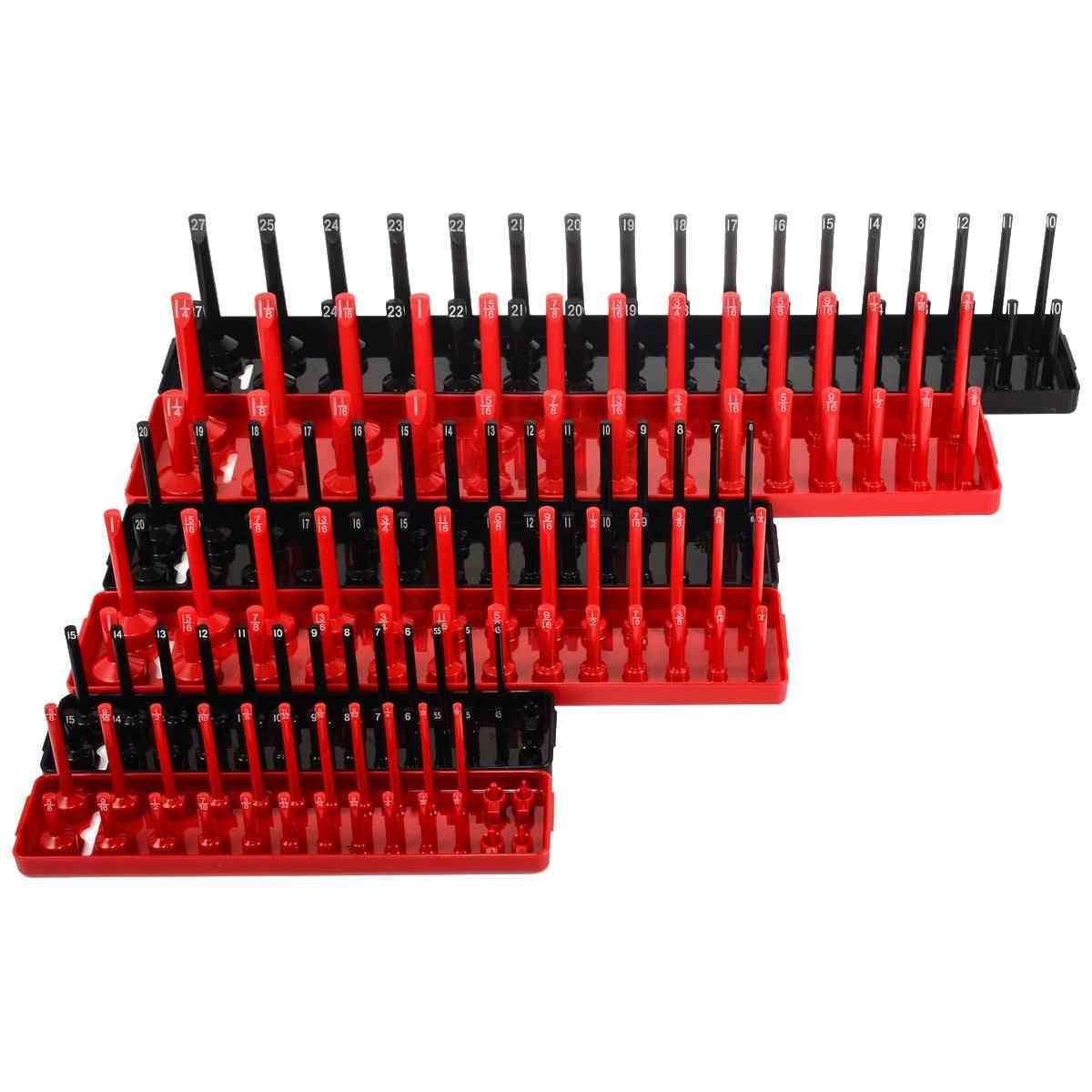 Metric Sae Socket Tray Rack Holder Garage Tool Organizer