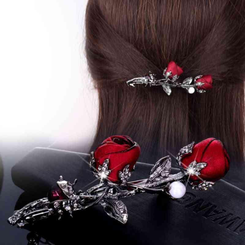 Simple Rose Flower Fabric, Crystal Beetle Rhinestone Leaf Hairpin