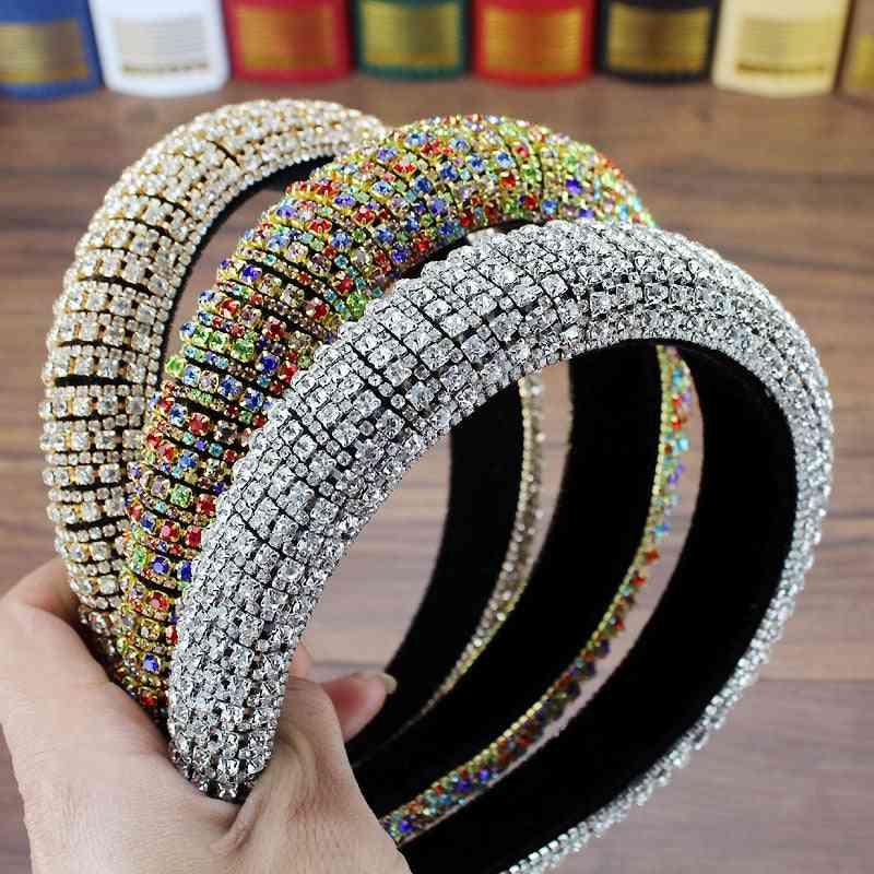 Handmade Padded Wedding Headdress, Full Crystal Baroque Tiara Headband