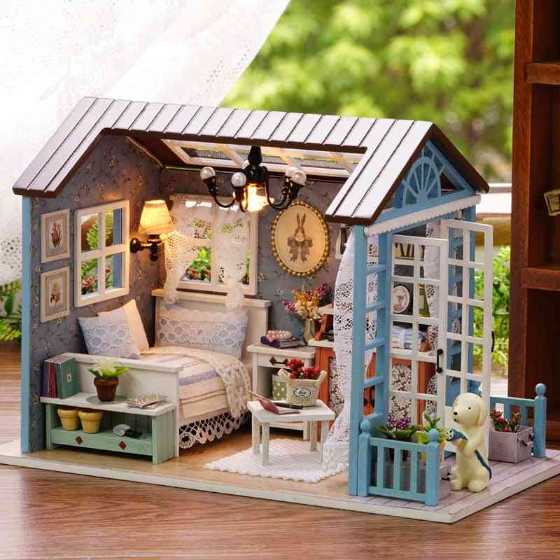 Diy Wooden Miniature Dollhouse Furniture Kit With Led For