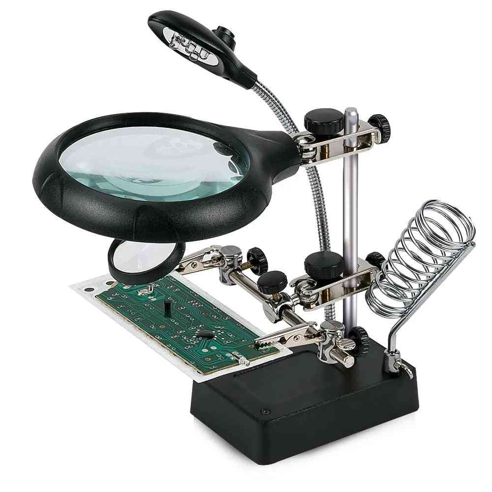 Welding Magnifying Glass With Led Light, Lens Auxiliary Clip Loupe Desktop