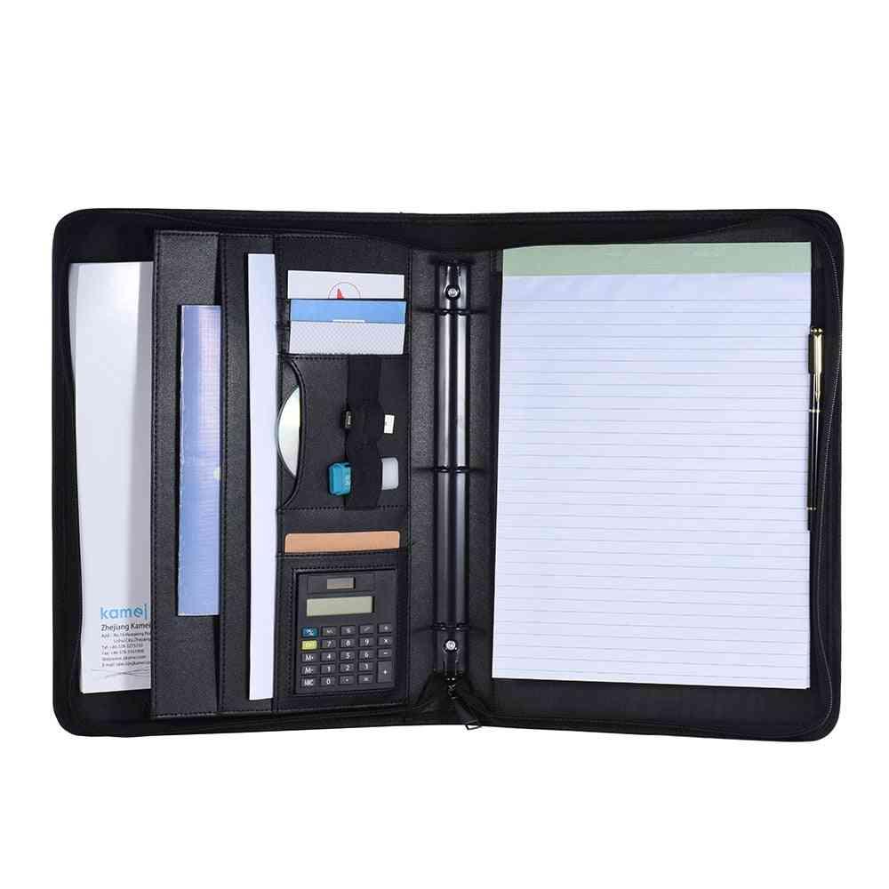 Multifunctional Document Folder Case, Office Business Portfolio, Zippered Closure