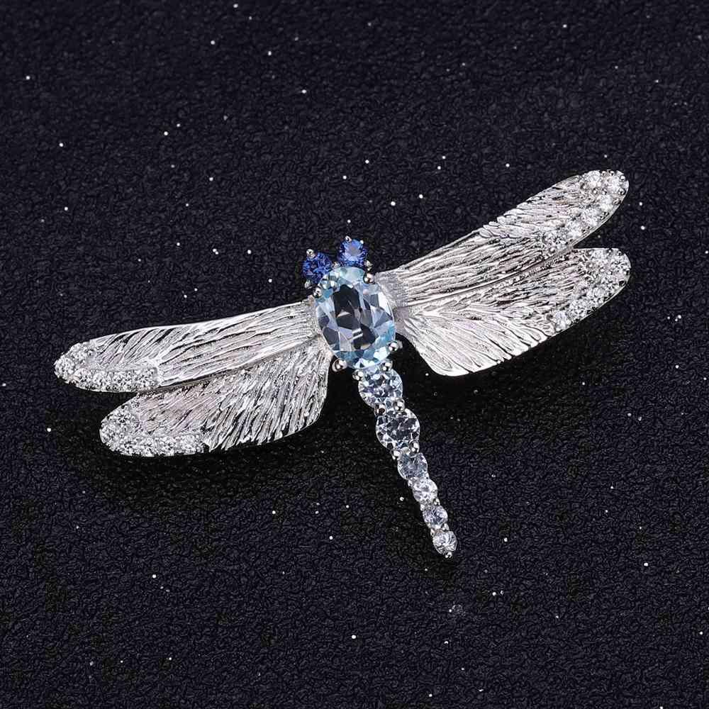 Sliver Natural Sky Blue Topaz Brooches