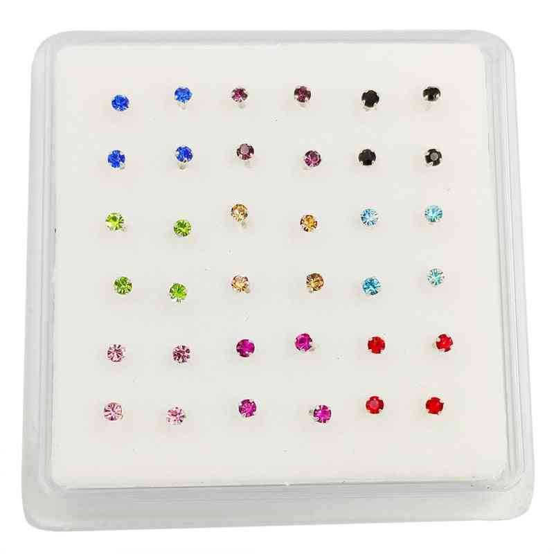 Sterling Mix-color Crystal Nose Stud, Indian Pin