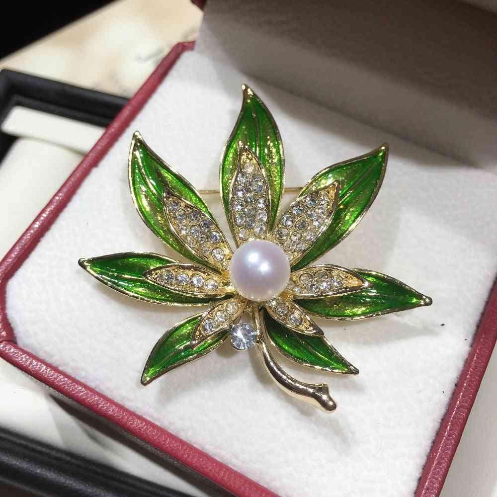 Leaf-brooch Natural Freshwater Pearl Brooch Simple Enamel Pins For Women