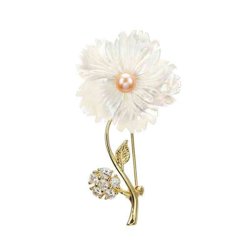 925 Sterling Silver, Flower Pin Design Brooches