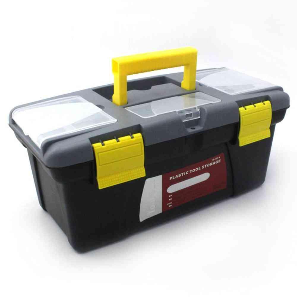 Large Size Portable Plastic Hardware Toolbox - Household Multifunction Maintenance Storage Box