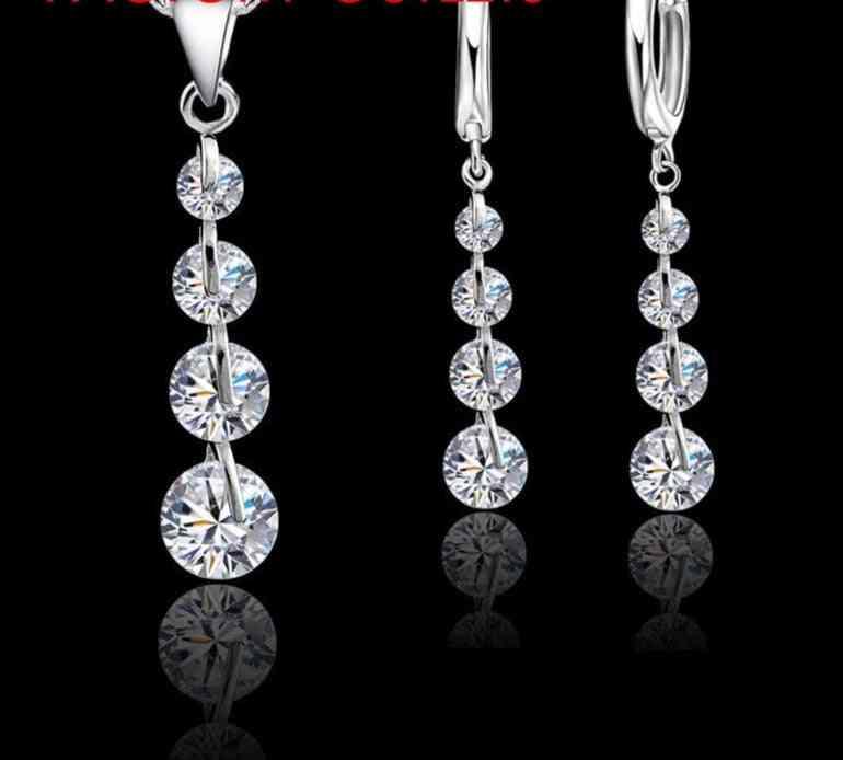 925 Sterling Silver Pendant Necklaces Hoop-earrings Set