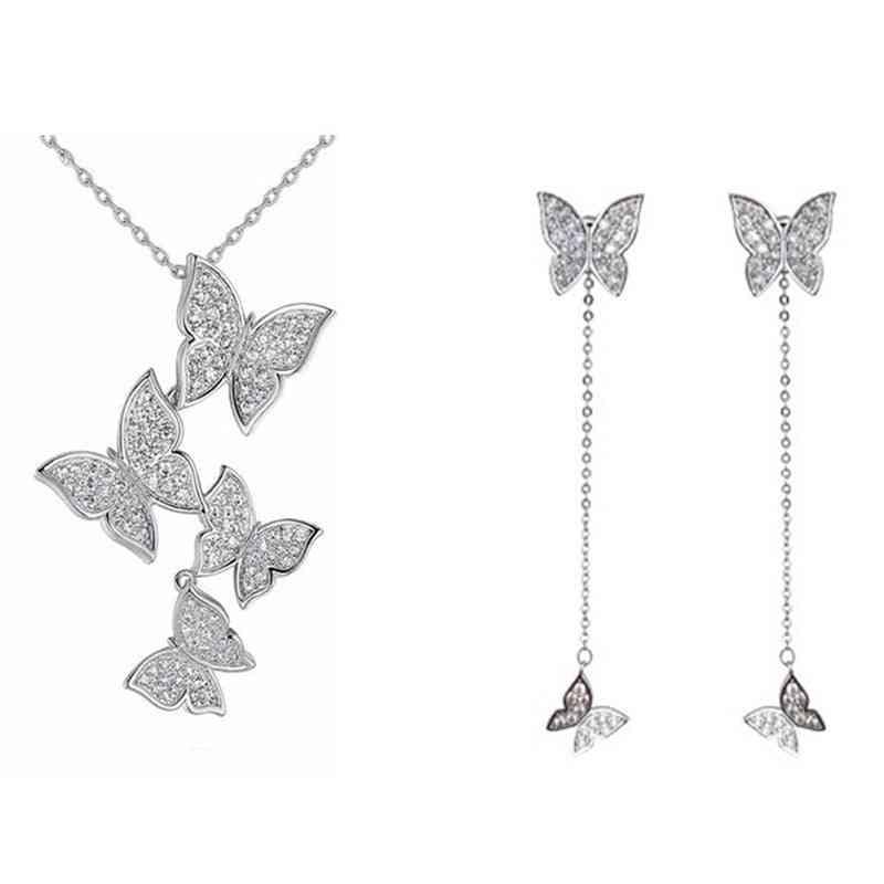 925 Sterling Silver Vintage Butterfly Jewelry Set