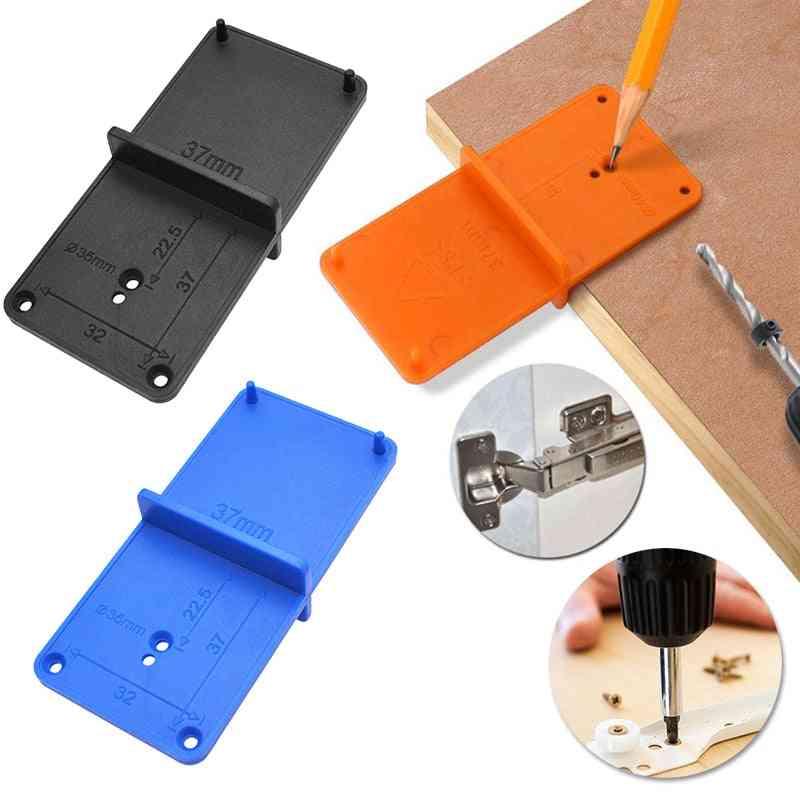 Hinge Hole Drilling Guide, Locator Opener - Template Door Cabinets Diy Tool