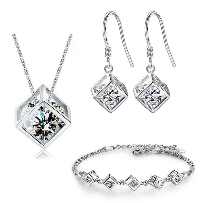 925 Sterling Silver Geometric Square Jewelry Set