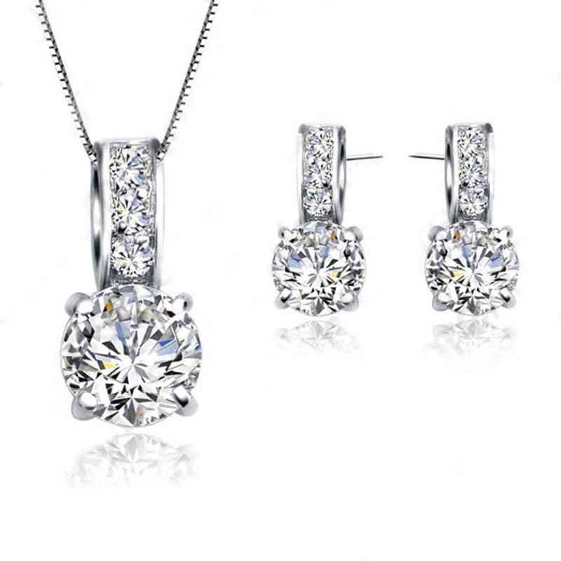 Cubic Zircon Pendant  Necklace & Earring - Women Jewelry Sets