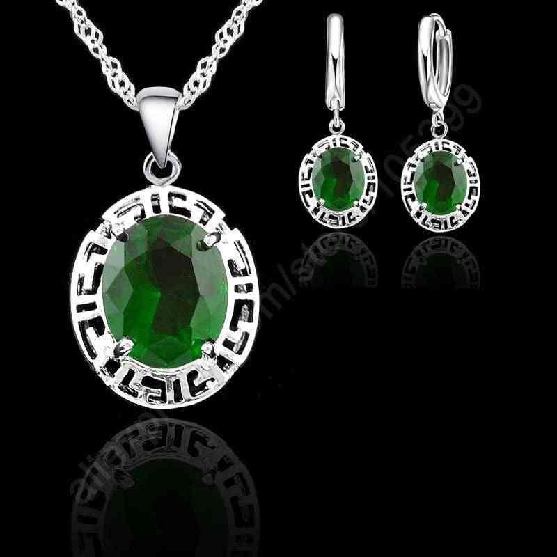 Round Fashion Wedding Jewelrys Earrings & Necklace