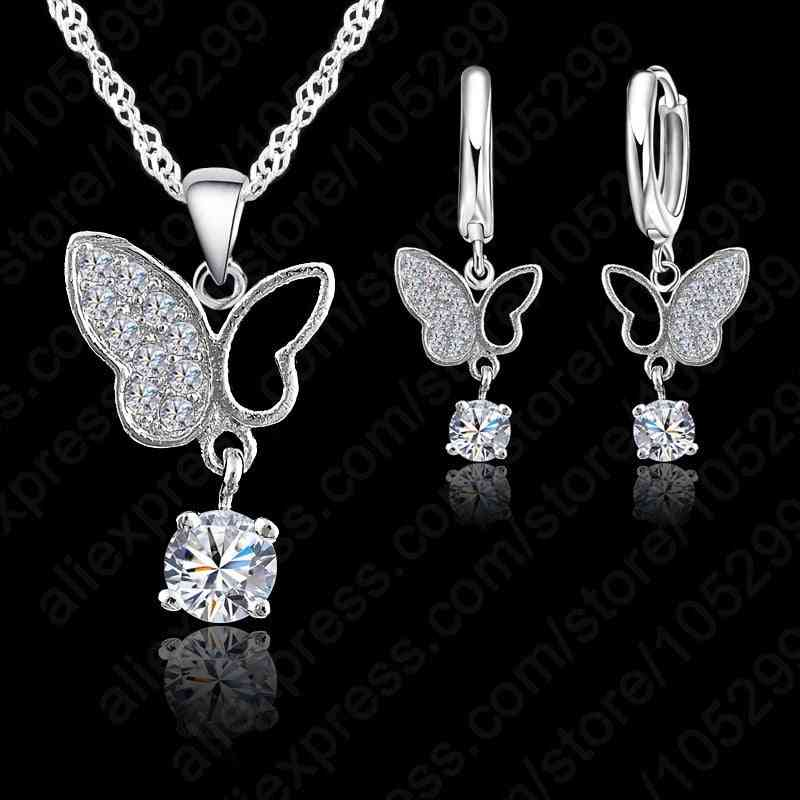 925 Sterling Silver Statement Butterfly Crystal Necklace Pendant Jewelry Set