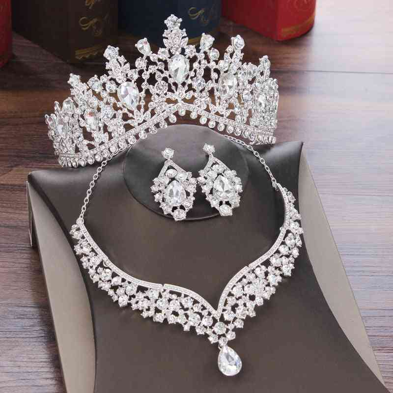 Crystal Water Drop Bridal Jewelry Sets-rhinestone Tiaras, Crown, Necklace, Earrings