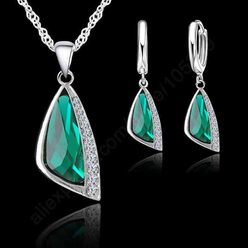 925 Sterling Silver, Cubic Zirconia Fashion Jewelry - Necklace, Pendant, Earrings