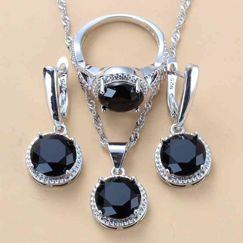 Zircon Dangle Earrings, Necklace And Ring Set